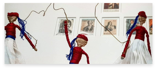 """little artwork products. handmade miniature """"tsoliades"""" soldiers made by yarn"""