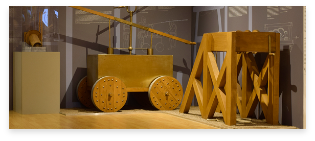 Ancient Greek technology intention in a wooden model. Part of the museum's collection.