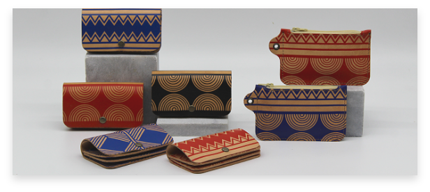 handmade bags of leather with colorful geometrical prints